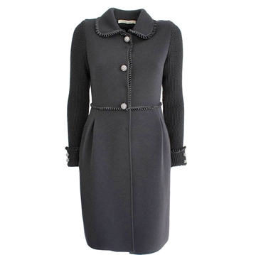 Blumarine wool knit sleeve grey vintage coat
