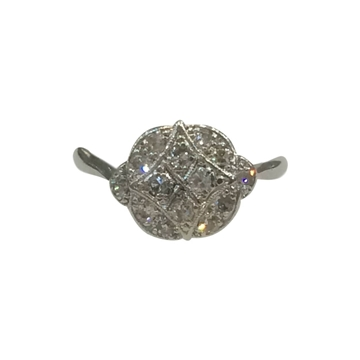Vintage Art Deco Platinum and Diamond Geometric Cluster Ring