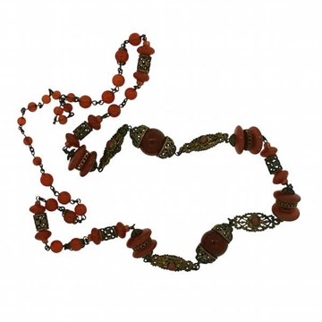 Czechoslovakian 1930s Amber Glass Bead Vintage Necklace