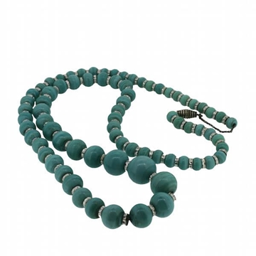 Czechoslovakian 1920s Turquoise Glass Bead Vintage Necklace