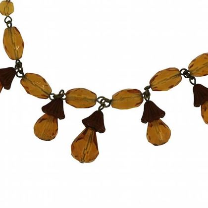Vintage 1930s Amber Glass & Celluloid Acorn Necklace