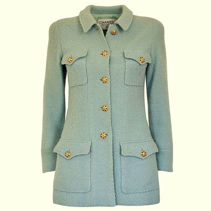 Chanel 1990s Gripoix Button Tweed Mint Green Vintage Jacket