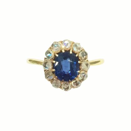 Antique Edwardian Sapphire and Diamond Ring