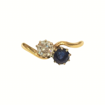 Vintage Art Deco 1920s Twist Sapphire and Diamond Ring