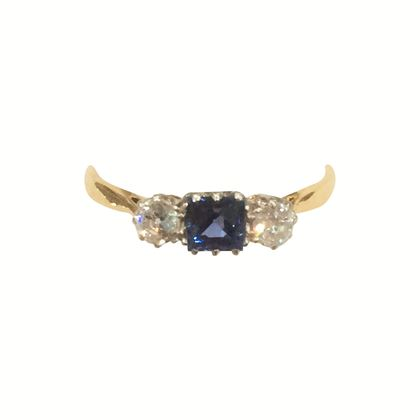 Antique Edwardian 3 Stone Sapphire and Diamond Yellow Gold Ring