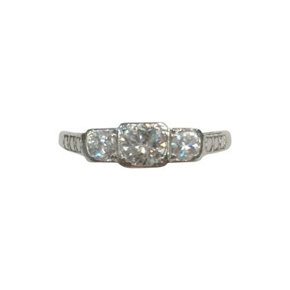 Vintage Art Deco Three Stone Diamond and Platinum Ring