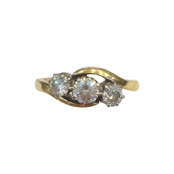 Vintage 1960s Three Stone Diamond Twist Ring