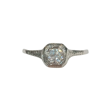 Vintage Art Deco Diamond and 18 Carat White Gold Diamond Ring