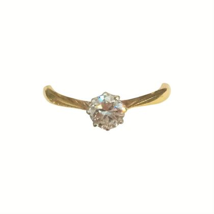 Antique Edwardian Diamond and 18 Carat Yellwo Gold Solitaire Ring