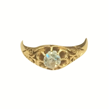 Antique Late Victorian Solitaire Diamond Ring in an Elaborate Yellow Gold Setting