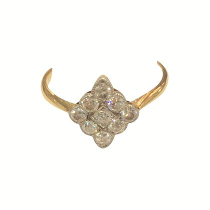 Antique Edwardian Diamond shaped Diamond and Yellow Gold Ring
