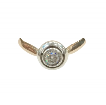 Antique Late 19th Century Solitaire Diamond and 18 Carat Rose Gold Target Ring