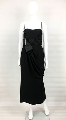 Valentino Silk-Blend Black Evening Dress With Buckle Detail - 2000s