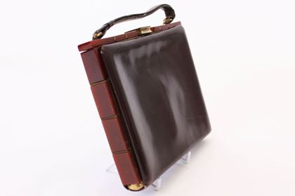 Vintage 1920s Leather Top Handle brown Bag