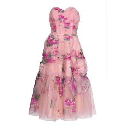 Vintage 1950 Handpainted floral pink Party Dress