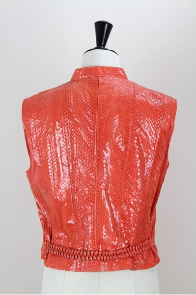 Rupp & Taureck Couture 1990s Snakeskin Red Vintage Waistcoat