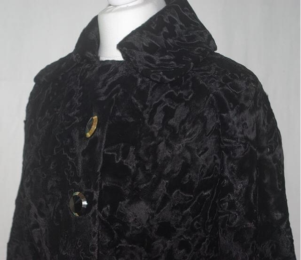 Witte of London c.1970s Black Russian Broadtail Vintage Coat