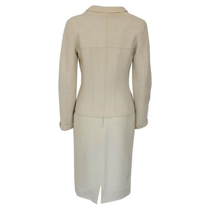 Chanel Zip Front Boiled Wool White Vintage Dress Suit