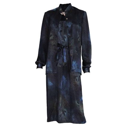 Clare Laughton 1990s Night Sky Blue Silk Vintage Dress and Overshirt