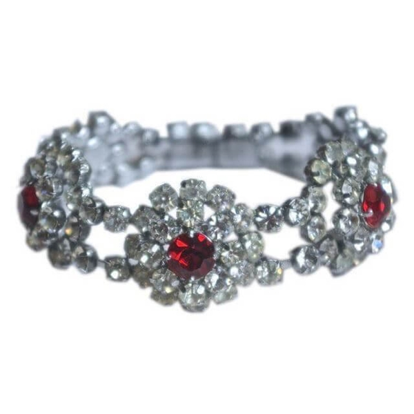 Vintage Ruby Red and Clear Rhinestone Flower Bracelet