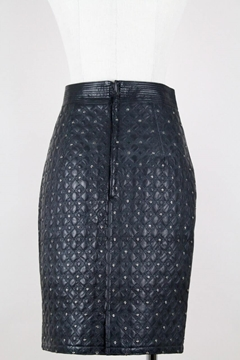 Istante by Gianni Versace 1980s black studded leather vintage skirt