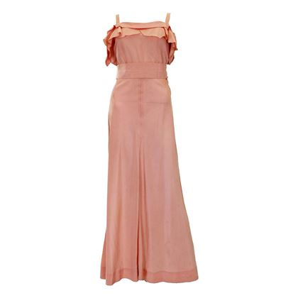 Vintage 1940s Peach Sleeveless Evening Gown