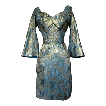 Vintage 1960s Chrysanthemum Brocade Dusky Blue and Gold Dress