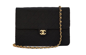 Chanel quilted jersey 2.55 black vintage bag