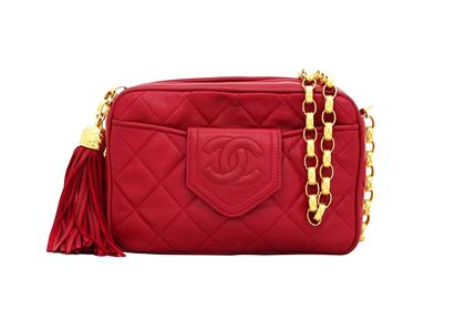 Chanel camera & bijoux chain red vintage box bag
