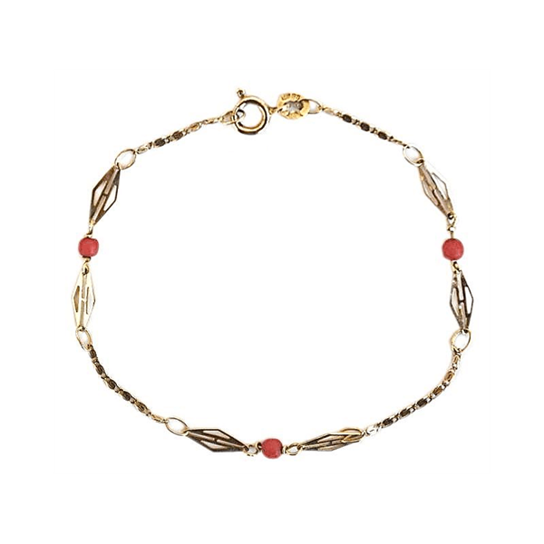 Picture of Vintage 1980s 9ct Gold & Coral Bracelet