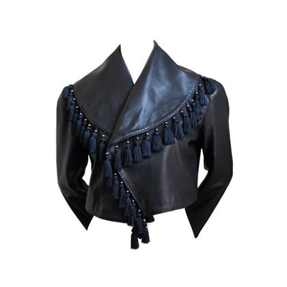 Versace 1980s Leather & Tassel Embellished black vintage jacket