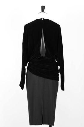 Louis Féraud 1980s velvet & wool black vintage cocktail dress