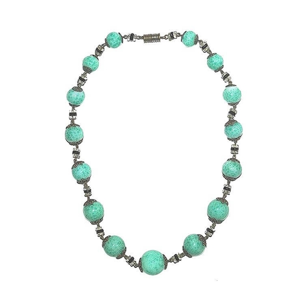 Art Deco Mottled Green Glass Vintage Necklace