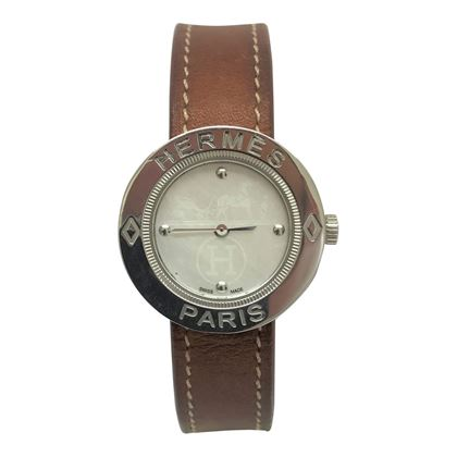 Hermes round silver ladies vintage watch
