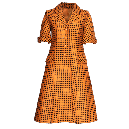 Marshall & Snelgrove 1960s Orange & Black vintage Coat Dress