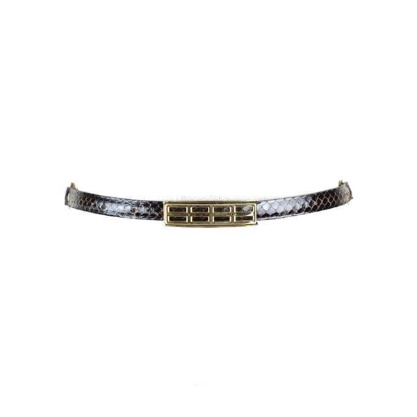 Picture of Vintage snakeskin pattern brown leather belt