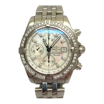 Breitling Chrongraphe large mens watch with factory diamonds