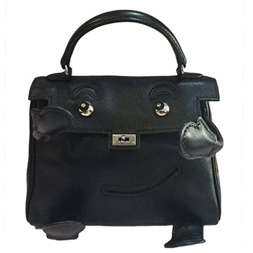 Hermes Kelly Idole (Kelly Doll) Gulliver Black Vintage Top Handle Bag