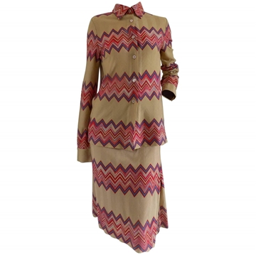 Missoni Chevron Stripe Cream and Pink Vintage Skirt Suit