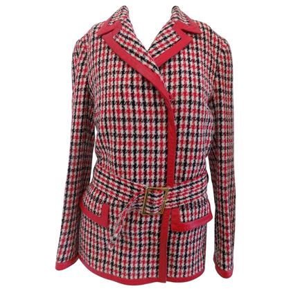 Dolce & Gabbana Houndstooth Check Belted black and red Vintage Jacket