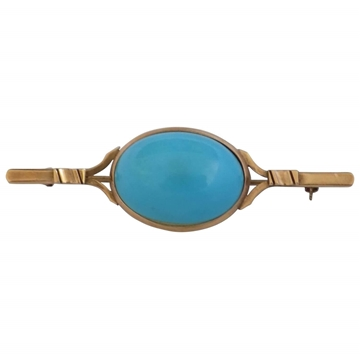 18kt Gold & turquoise vintage Pin