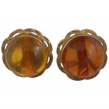 Vintage 18ct Gold & Amber Earrings