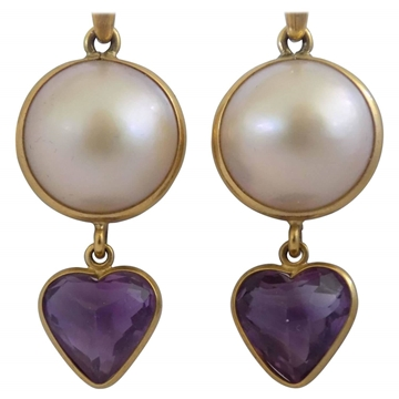 Picture of Vintage 1990s heart drop & pearl 18kt Gold Pendant Earrings