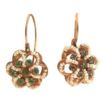 1950s-12kt-gold-earrings-with-pearls-and-emerald