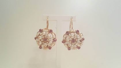 Vintage 1950s Flower Pearl and Rubin Embellished 12kt Gold Earrings