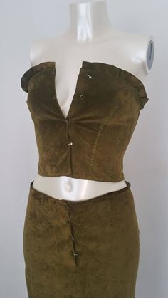 Alberta Ferretti 1990s leather green vintage top & skirt set