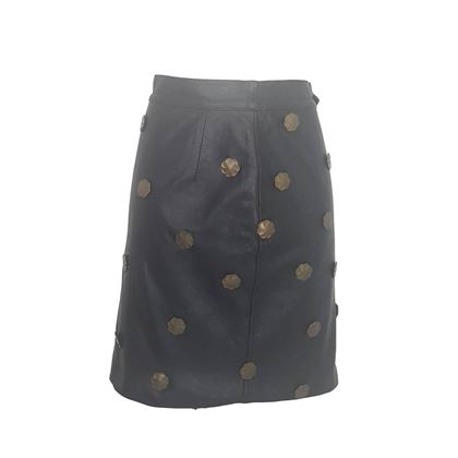 Moschino 1980s leather & metal black vintage skirt
