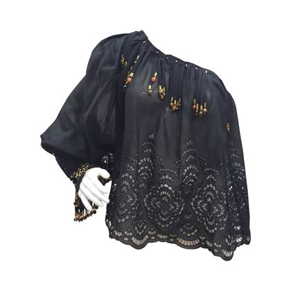 Gucci by Tom Ford 1990s broderie anglaise one shoulder black vintage blouse