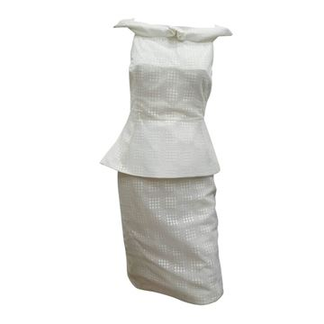 Antonio Berardi 1990s Peplum White Vintage Dress