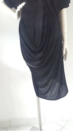 Balenciaga 1990s Draped Black Vintage Dress
